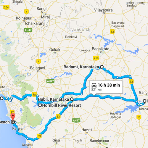 ROUTE Planner - Goa & Hampi 900 - CLICK HERE TO VIEW MAP!